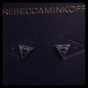Rebecca Minkoff triangle jeweled earrings